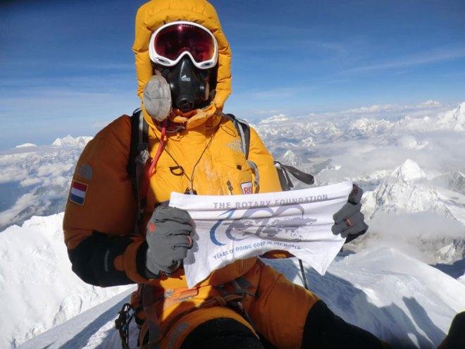 Rtn Olivier Vriesendorp on the Everest summit.