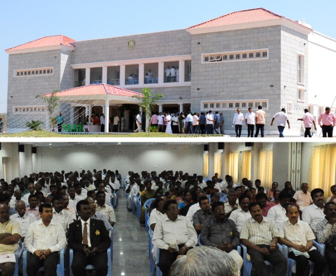 From Top: RC Karur's new building;  Rotarians at the auditorium.