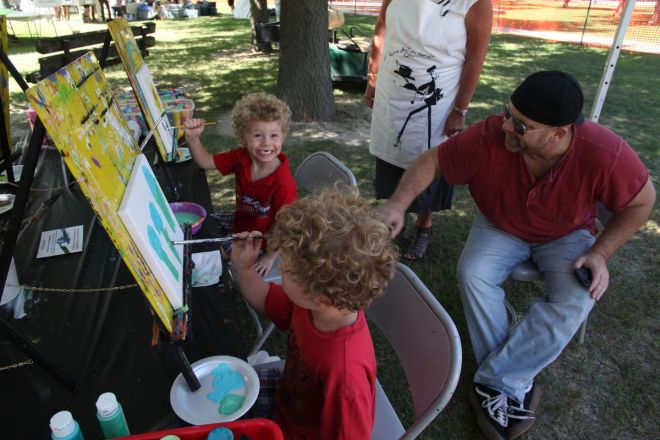 Budding artists practice their craft at the 2016 Chesterton Art Fair.