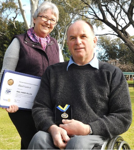 Hazel Ladson and David McPherson with PHF medallion and certificate.