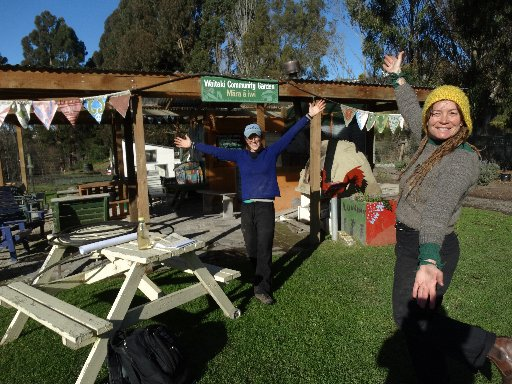 Waitaki Community Gardens co-ordinator Sophia Leon de la Barra (left) and volunteer co-ordinator Ra McRostie outside the garden's educational club, which was partly paid for through a $5000 donation from the Rotary Club of Oamaru.  Photo: Daniel Birchfield