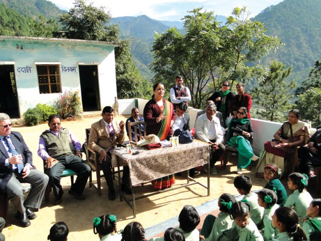 Rudraprayag MLA Shaila Rani Rawat at the handing over ceremony of the Chamoli school.