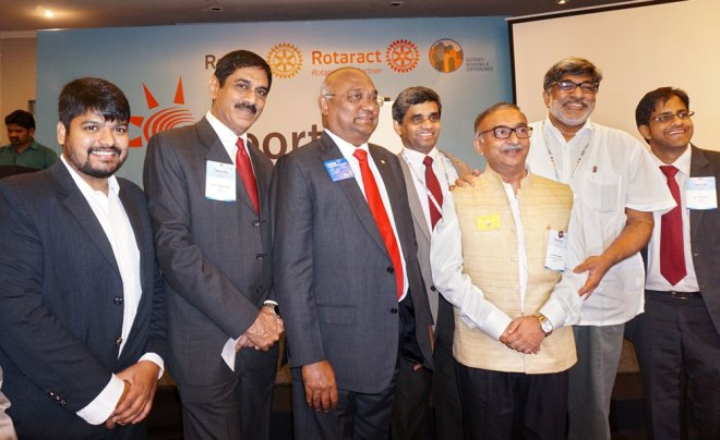 From L: PDRR Rajesh Subramanian, Convener Sam Patibandla, RID C Basker, RC H Rajendra Rai, ARC Sharat Chandra, Rtn Ram Seshu and RI Interact and Rotaract Committee member Karthik Kittu.