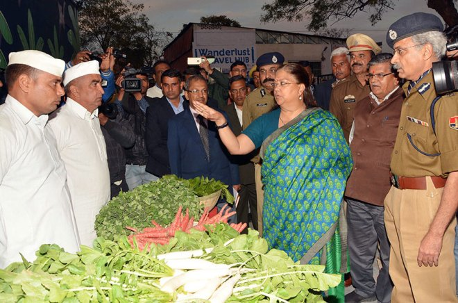Rajasthan Chief Minister Vasundhara Raje Scindia at a stall selling organic vegetables grown by the prisoners. DG (Prisons) Ajit Singh (extreme right) is also present.