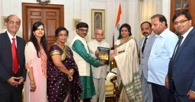 DGE Sayantan Gupta and Bina Biswas present their work to former President of India Pranab Mukherjee in the presence of their respective spouses Rtn Puspita and Air Commodore K Biswas and the publishers team.