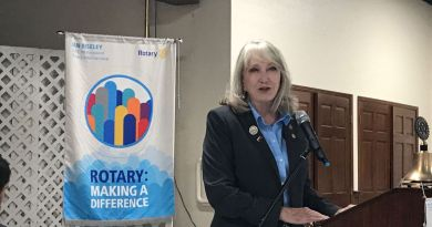 New District Governor Cheryl Spriggs addresses the Ashland Rotary Club. She explains the benefits of being in Rotary International and the goals for the year. Photo: Glenn Puit
