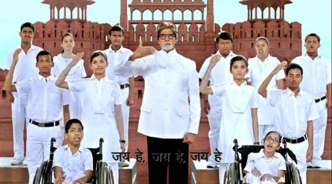 National Anthem in sign language The Indian Government has launched a 3.35-minute video of the National Anthem in sign language. Directed by filmmaker Govind Nihalani, the video features film star Amitabh Bachchan performing the Anthem in sign language, along with differently-abled children, against the backdrop of the Red Fort. Apart from Delhi, the video was also launched in Goa, Bhopal, Chandigarh and Kolhapur.
