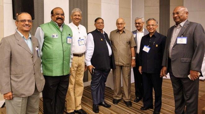 From L: DPPC Vinod Tailang, D 3030 DG K S Rajan, NCM Ajay Saxena, DPPC Ramesh Tiwari, PRIP Kalyan Banerjee, INPPC Chair Deepak Kapur, PRIP Rajendra K Saboo and RID C Basker.