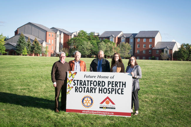 From left to right are Stratford Perth Rotary Hospice Board Vice-Chair Dennis Young, Board Chairman Andy Werner, Rotary Club of Mitchell president Pete Huitema, Stratford Rotoract president Laurie Brown and Rotary Club of Stratford president Linda Bathe. Photo: Maaike Roosendaal/Brilliant Images