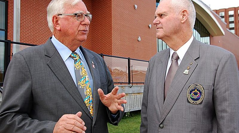 Rotary International President Ian Riseley, left, chats with Bob Moffatt, Centennial chairman for PEI Rotarians during a visit to the province in Canada.