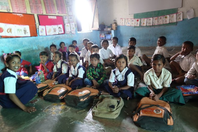 Students at the Krishna Nagar Zilla Parishad primary school in Jamwadi.