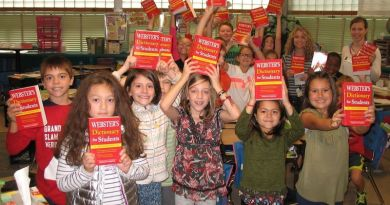 Students in third-grade classroom at Shepherdstown Elementary School hold dictionaries they received from the Rotary club. Photo: Submitted
