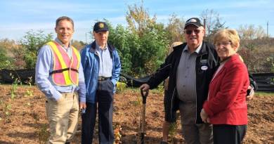 (Left to right) Scott Bryk, Executive Director, Highway of Heroes Living Tribute; Wilf Wilkinson, Past President, Trenton Rotary; Jim Harrison, Quinte West Mayor and his wife Jane.
