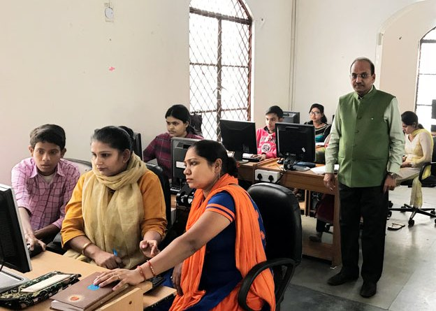 RC Delhi South West President Lokesh Gupta at the club's digital literacy centre in Delhi.