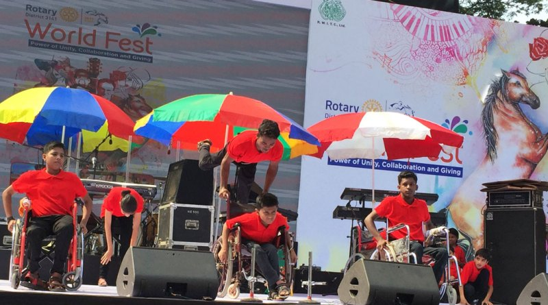 A lively music and dance performance put up by physically-challenged youth.
