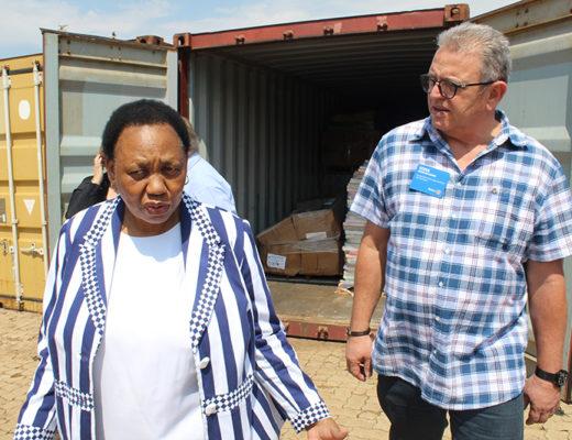Minister of Basic Education Angie Motshekga and Executive secretary for the Rotary Club of Johannesburg New Dawn Steve du Plessis.