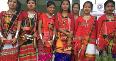 Tripura dancers get ready for the entertainment programme.