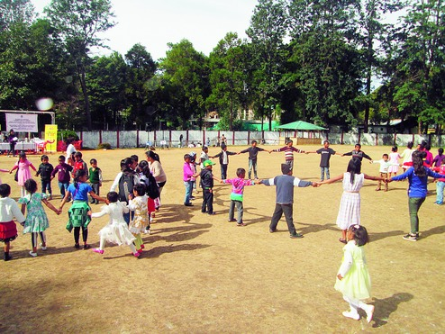 Children play on the Police Training School campus in Shillong. Photo: Banbitlang Marbaniang