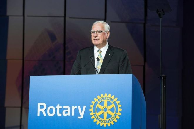 Rotary International President Ian HS Riseley speaking at the closing ceremony of the Rotary International Convention in Atlanta, Georgia, on June 14. Photo: www.rotary.org