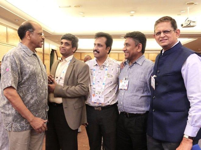 From L: PDGs Sam Movva, Rajendra Rai, DGEs Babu Peram, Barjesh Singhal and PDG Balkrishna Inamdar.