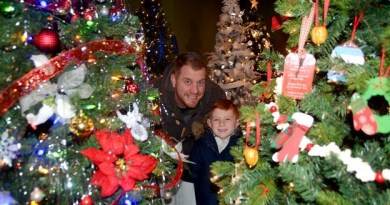 Ryan Allington and son Piers were checking out the 40-plus decorated trees on display as part of the Rotary Club of Grimsby's Fantasy of Trees at the Grimsby Museum. The annual fundraiser, which runs until December 10, was launched with a tree lighting, caroling and more on the front lawn of the museum. Photo: Scott Rosts/Metroland