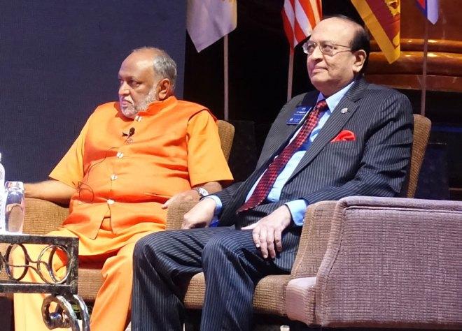 Swami Sukhabodhananda (left) with Session Chair PRID P T Prabhakar.
