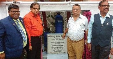 From L: RC Murshidabad President Dr Ravi, D 3291 DG Brojo Gopal Kundu, Superintendent of the Berhampore Central Correctional Home T R Bhutia and RC Tollygunge President Sailen Bhowmick at the inauguration of the water treatment plant inside the prison.