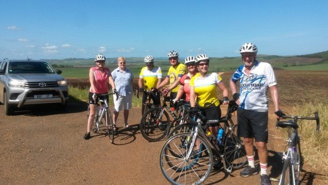 Ready to get their hill training underway after a 60km cycle were Rotarians Nicola Robarts, Barbara Robarts, Fulvio Pace, Craig Blaylock, Lizelle Calvino, Michelle Pace and Brian Robarts