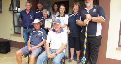 Rotarians at work: (back) Leon Willemse, Louis and Mari van Zyl, Zanele Ntubane (Principal), Mari Chrystal, Iris and Chris Valentine; (front) John McFarlane and Terry Chrystal. Photo: Tamlyn Jolly