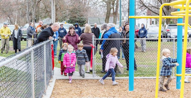 Children rush in to climb on new playground equipment installed in Wildwood Park through efforts from Noon Rotary Club, city of Walla Walla employees and other volunteers. Courtesy photo