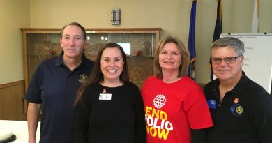 Leaders of Apple Valley Rotary and the city of Apple Valley came together for a spaghetti dinner on Sunday. From Left: Apple Valley Rotary President Wayne Hilbert, City Mayor Mary Harmann-Roland, Event Chair Karen Kirkman and RI District 5950 PolioPlus Chair Tim Mulcrone. Photo: Submitted