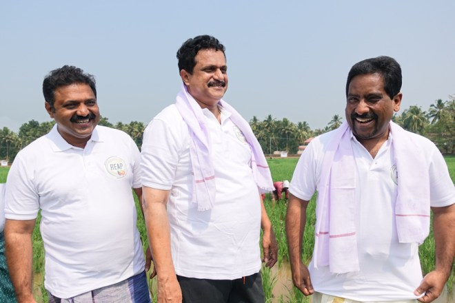 From L: REAP Chair Bijumon Kurien, A G Santosh George and DG Suresh Mathew.