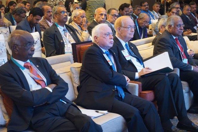 From L: PRID Panduranga Setty, TRF Trustee Sushil Gupta, TRF Trustee Chair Paul Netzel and PRID Manoj Desai at the CSR Meet in Bengaluru.