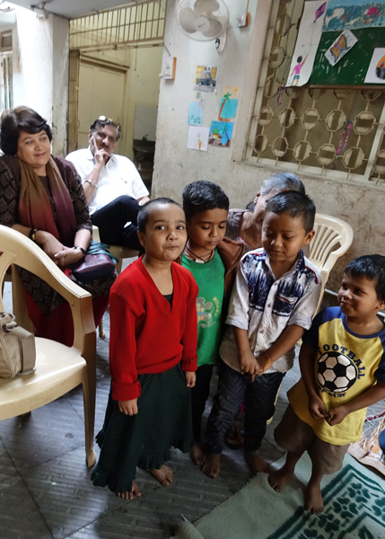 Deepa and Sadanand Bhagwat with the children.
