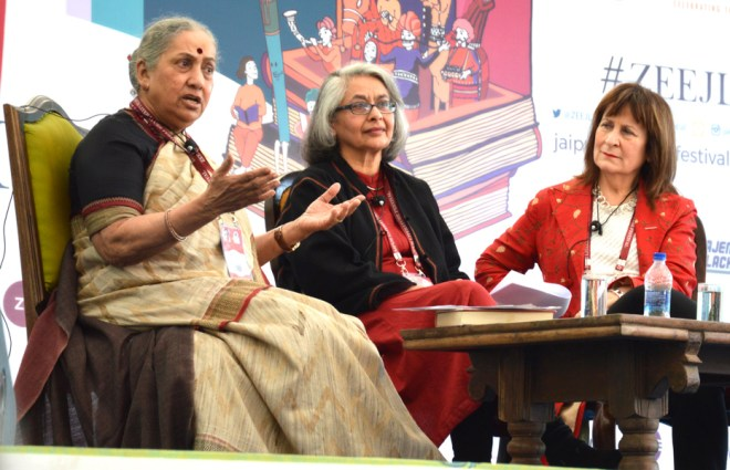 Margaret Alva, former Governor of Rajasthan, and Helena Kennedy in conversation with Arati Jerath during a session on 'Women and Power'.