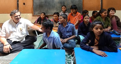 Rtn Sadanand Bhagwat and Deepa Bhagwat (far right) with the children at Renutai's home-cum-school in Pune.