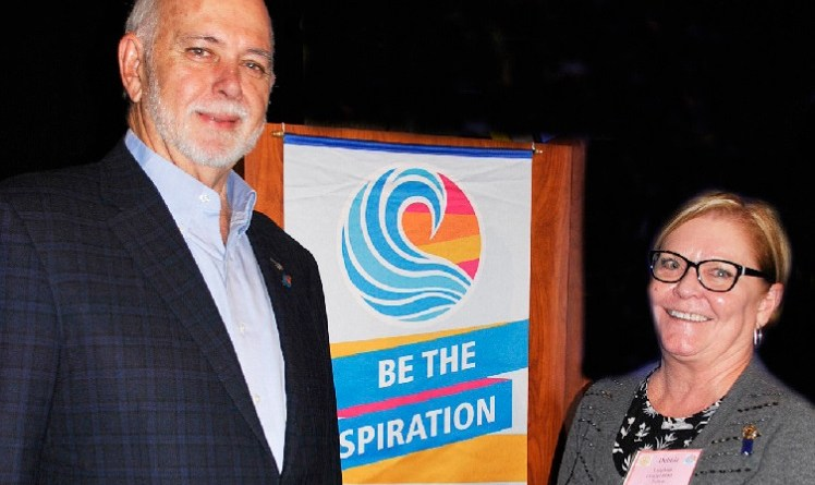 Debbie Laughlin, president of the Rotary Club of Fulton for the year beginning July 1, along with RIPE Barry Rassin at the 40th Annual Show Me Rotary Leadership Institute.  Photo: Submitted
