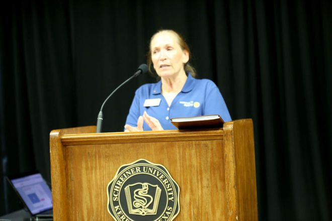 Rotary Club of Kerrville President Kristy Vandenberg was the featured speaker at a chamber luncheon.