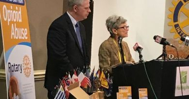 Broome County Executive Jason Garnar and Rotary District 7170 Grant Chair Lana Rouff announce the organisation's four-point plant to combat heroin epidemic. Photo: Ashley Biviano/Staff Photo