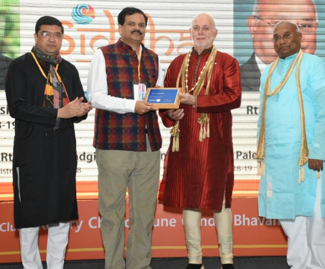 D 3131 PDG Deepak Shikarpur received the Service Above Self award from RIPE Barry Rassin, in the presence of RID C Basker and DG Abhay Gadgil, during the RIPE's recent visit to Pune.