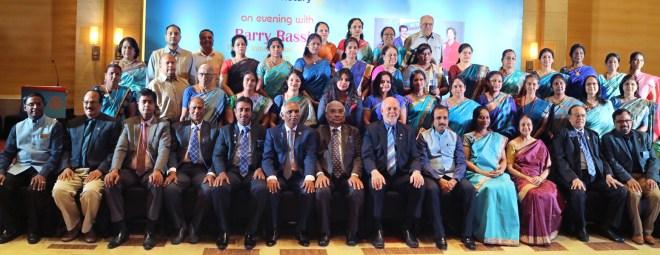 Seated from L: Rtn Sridhar, PDG C R Raju, A S Venkatesh, S Krishnaswami, DG R Srinivasan, PDG J B Kamdar, RID C Basker, RIPE Barry Rassin, DGE Babu Peram, his spouse Anita, Nalini and PRID P T Prabhakar and RPIC Rajadurai Michael, along with Rotarians and Anns at the D 3232 PETS.
