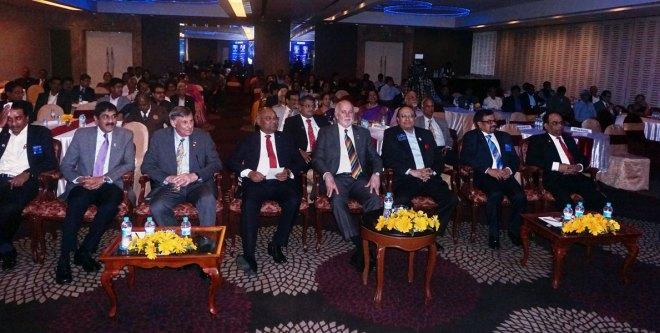 From L: DG R Srinivasan, EMGA Sam Patibandla, RIDN Floyd Lancia, RID C Basker, RIPE Barry Rassin. PRID P T Prabhakar, RPIC Rajadurai Michael and PDG ISAK Nazar.