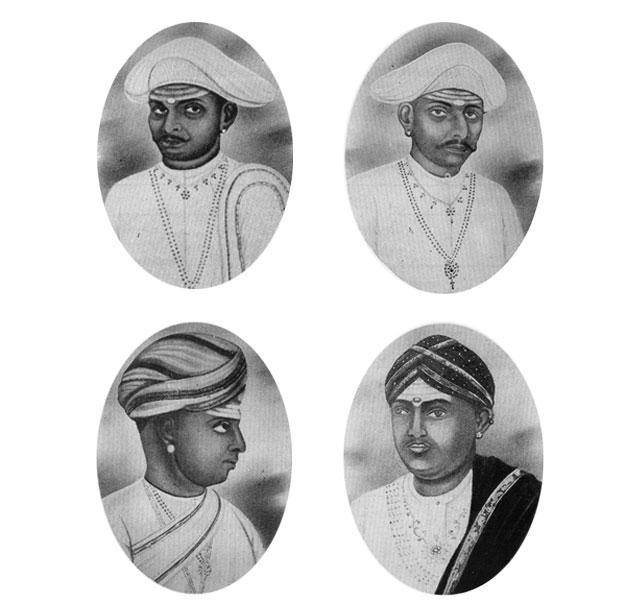 The Thanjavur Quartet of the 19th century: (clockwise) Chinnaiah, Ponnaiah, Vadivelu and Sivanandam.