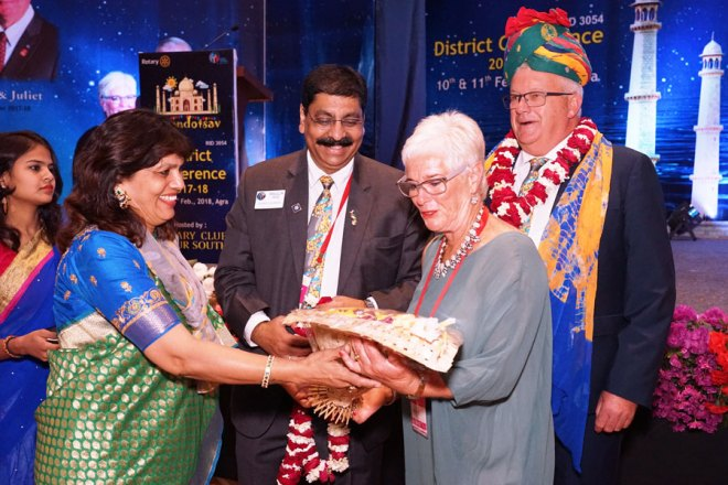 RIPR Stuart Heal and Adrienne being honoured by DG Maullin Patel and Sonal.