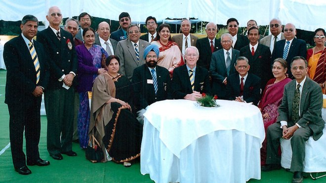 Past RI President Carl Stenhammer with (from R) PRIP Rajendra K Saboo, Usha Agarwal, PRID Sudarshan Agarwal (then serving as Governor of Uttaranchal), then DG Ranbir Singh and his spouse Harvinder. PRID Y P Das (standing L) is also seen in the picture. PDG Prem Bhalla can be seen standing behind with the past governors of the district.