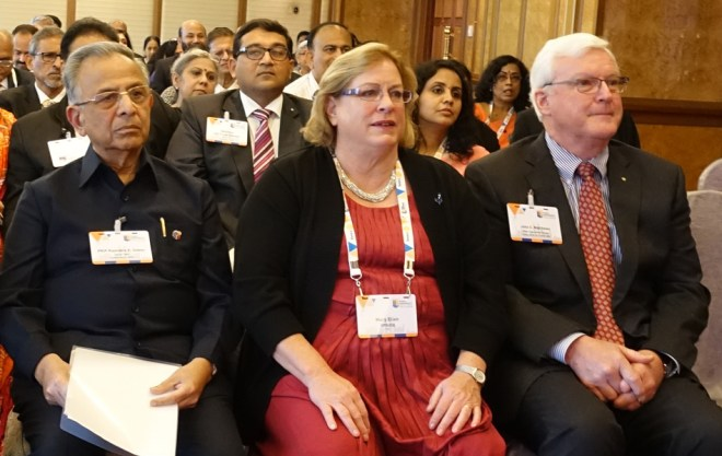 From R: RI Director John Matthews with spouse Mary Ellen and Past RI President Rajendra K Saboo.