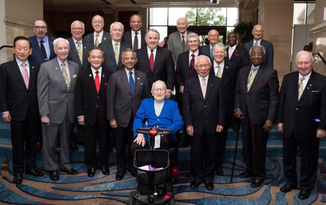 PRIP Charles Keller with the college of RI Presidents at the 2017 International Assembly.