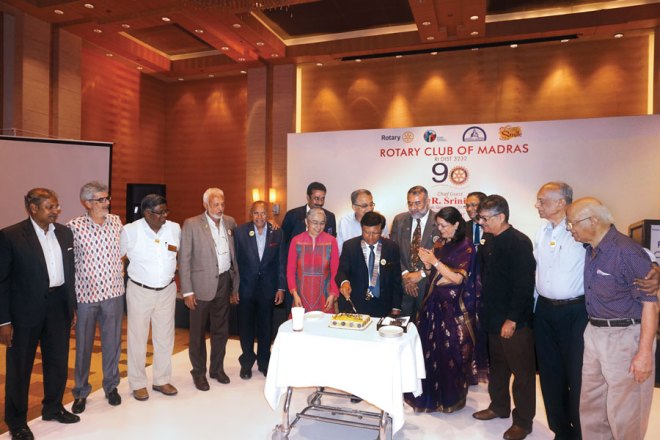 From L: Rotarians Arulmozhi Varman, Kapil Chitale, S Gunashekar, Ravi Katari, M C Shankar, DG R Srinivasan, Nandita Krishnan, V K Chandrakumar, Club President P N Mohan, N K Gopinath, Vijaya Bharathi, Nikhil Raj, Vivek Harinarain, PDG S Krishnaswami and Christopher Devapragasam.