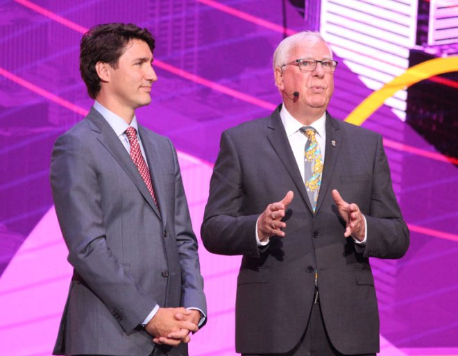 Canadian Prime Minister Justin Trudeau (left) and RI President Ian Riseley.