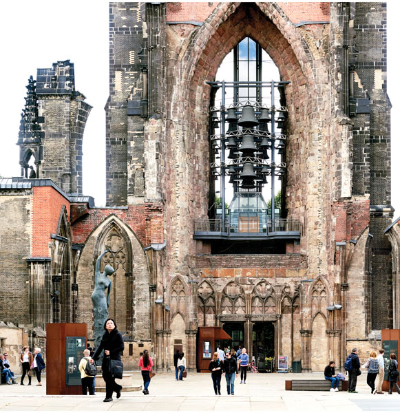 The ruins of St Nikolai church were left as a reminder of the horrors of war. Its 482-foot high spire, still Hamburg's tallest, features a viewing platform that is accessible by elevator.